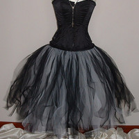 "skirt black white tutu fantasy tulle 26""long goth burlesque wedding bride prom gypsy victorian US size 6 8 10 12"