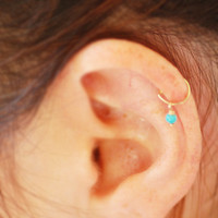 Tiny hoop, Cartliage earring, tragus helix piercing, cartilage ring, turquoise tragus earring
