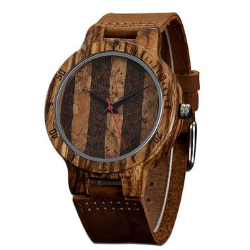 New Arrival Wooden Men Wristwatches Unique Design Genuine Leather Bamboo Wooden Watch For Men Women Christmas Gifts