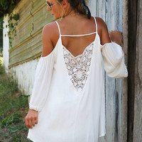 Grecian Goddess Crochet Back Ivory Cold Shoulder Dress