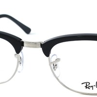 Authentic Ray Ban RX 5154 Clubmaster 2000 Shiny Black Silver Eyeglasses 51mm