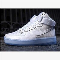 NIKE Women Men Running Sport Casual Shoes Sneakers Air force High tops and low tops White Scale-1