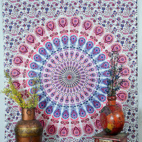 Pink Color Print Tapestry Indian Wall Hanging Cotton Tapestry Wall Decor SBS088