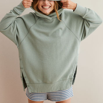 Aerie Side Snap City Hoodie, Overcast Green