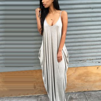 Cute deep v sexy straps long dress