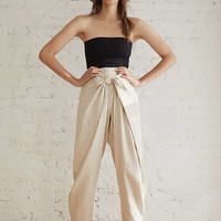 UO High-Rise Wrap Front Striped Pant   Urban Outfitters