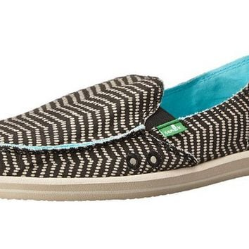 Sanuk Donna Deco Slip-On Black & Natural Loafers