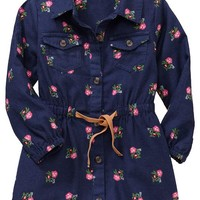 Printed Flannel Shirtdresses for Baby