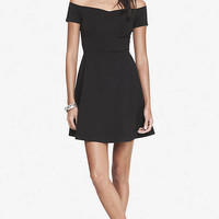 OFF THE SHOULDER STRETCH COTTON SKATER DRESS from EXPRESS