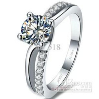 0.6-1 ct, I -Four claw ring women rings wedding ring Micro Pave paragraph
