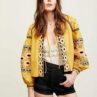 Sea Lights Embroidery Bohemia Round-neck Jacket [8044790727]