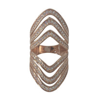 Rose Gold Plated Sterling Silver CZ Modern Cuff Style Ring