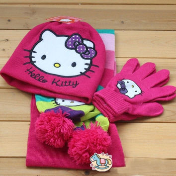 Top Sale high quality 2015 New arrival Hello kitty cartoon Kid's children's winter Scarf, Hat Sets scarf + cap Christmas new year CC009