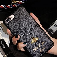 Gold Bee Cute Women Men Trending Couple Phone Case Hard Shell For Iphone X Iphone 8/7plus/6s Black