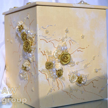 "Wedding Money Box ""In tender embrace"" collection ""Idyll"" Tirelire Card Box Gift Card Holder milky gold"