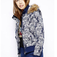 Blue Baroque Print Hooded Padded Jacket with Fur Collar