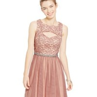 Sequin Hearts Juniors' Embellished Glitter Lace Cutout Dress | macys.com
