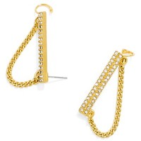 Women's BaubleBar 'Shackle' Pave Ear Crawlers - Gold/ Clear