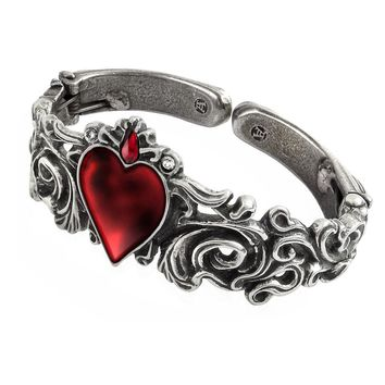 Alchemy Gothic Betrothal Red Heart Bracelet Cuff