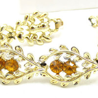 Coro Gold Tone Yellow Orange Rhinestone Bracelet Designer Vintage Bridal Runway Costume Jewelry Estate Crystal  Clasp
