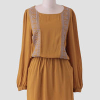 Golden Empire Embroidered Dress