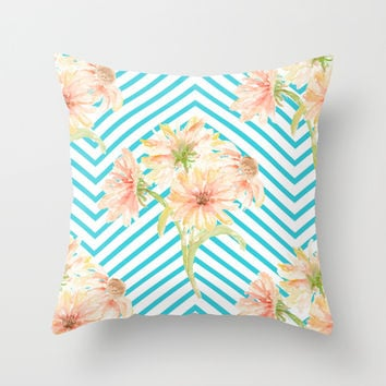 Flowers and Stripes Throw Pillow by All Is One