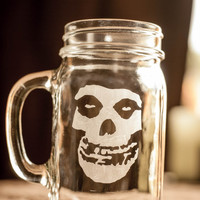 Misfits Fiend Skull Etched Mason Jar With Handle
