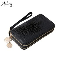 Aelicy Luxury Women Wallets Leather Wallet Double Zipper Day Clutch Large Capacity Wristlet Coin Purse Card Holder Billetera