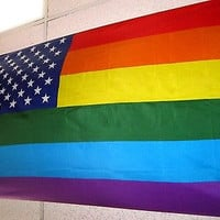 Gay Pride US Rainbow Flag 3x5 foot Gay Lesbian GLBT Pride USA Stars Stripes-New!