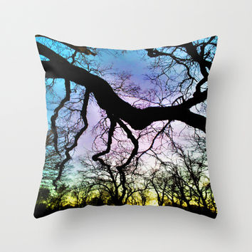 Twisted Tree Sunset Throw Pillow by DuckyB (Brandi)