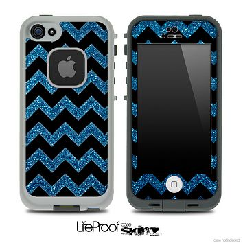 Blue Sparkle Print and Black V6 Chevron Pattern Skin for the iPhone 5 or 4/4s LifeProof Case