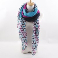 Hot Sale Color Block Wave Pattern Scarf For Women