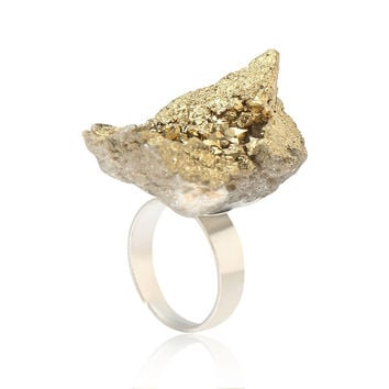 Gold Crystal Cluster Ring