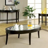 Silver Mist Contemporary Style Beveled Glass Top End Table With Dark Walnut Wood Finish
