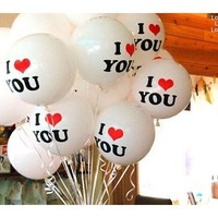 Essential Good Quality 10pcs/lot Romantic 12 inch Pearl Balloon I LOVE YOU Balloons Christmas Wedding Decorations [7983359047]