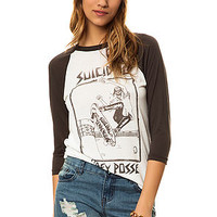 The Obey X Suicidal Tendencies Pool Skater Baseball Raglan in Dusty Light Grey and Graphite