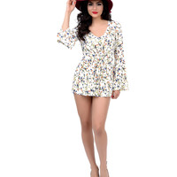 1970s Style Ivory & Watercolor Floral Bell Sleeved Romper