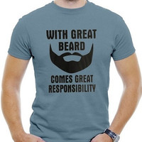 """Men's Cotton T-Shirt """"With Great Beard Come Great Responsibility"""""""