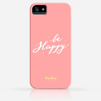 Be Happy Calligraphy Handwriting Text iPhone 4 Case, iPhone 5 Case, iPhone 5s Case, Samsung Galaxy s5, iPhone Hard Plastic Case