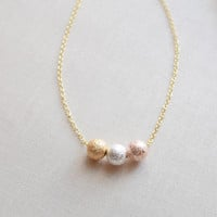 Triple Sparkle Ball Necklace