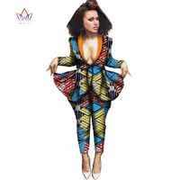 Women African Clothing Dashiki Bazin Riche Suit African Print Pants for Women Outfits Plus Size 2 Piece Pants and Crop Top WY628