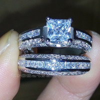 Size 5-10 Princess Cut 10k white gold filled white Topaz Wedding Ring set Christmas gift = 1932510852