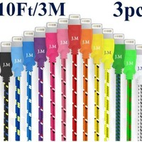Josi Minea® Premium Fabric Braided Quality Ruggedized Bundle Package (3 Pcs) Qty Lightning Rainbow Multi Color USB Cables 10 Feet / 3 Meter Data Sync Charger Cable USB Cord Wire To 8 Pin Connector For iPhone 5 / 5S / 5C, iPod, iPad Touch Nano 7Th