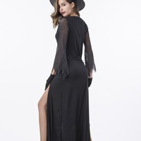 Witch Halloween Costumes for Women - Adult Sexy Black Wicked Witch Costume (M)