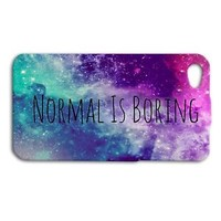 Super Cute NORMAL IS BORING Space Phone Case iPhone iPod Cover Cool Purple Pink
