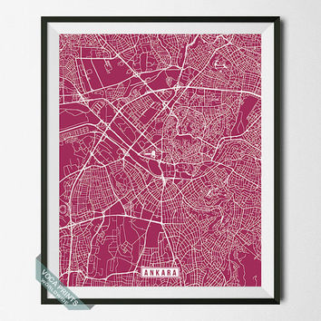 Ankara Print, Turkey Poster, Ankara Poster, Ankara Map, Turkey Print, Street Map, Turkey  Map, Home Decor, Wall Art