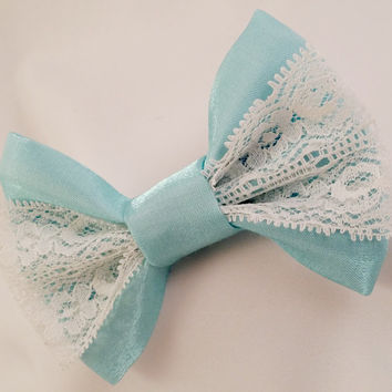 Blue Lace Hair Bow