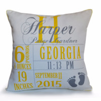 Baby Stats Throw Pillow For New Mom Personalized Baby Girl Boy Photo Prop