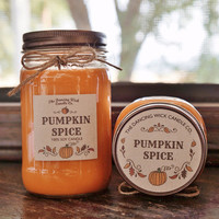Pumpkin Spice Pure Soy Candle //Large Pint 16 oz.// Half Pint 8 oz candle/Mason Jar Candle/Hand Poured//Fall Candle//Autumn Candle