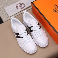 Hermes Men's Leather Fashion Low Top Sneakers Shoes